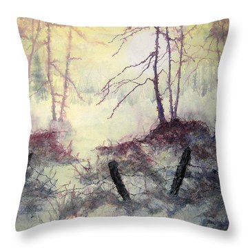 Throw Pillow featuring the painting Beyond The Fence by Carolyn Rosenberger