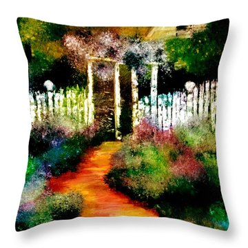 Throw Pillow featuring the painting Beyond The Fence by Denise Tomasura