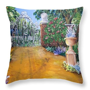Throw Pillow featuring the painting Beyond The Gate by Saundra Johnson