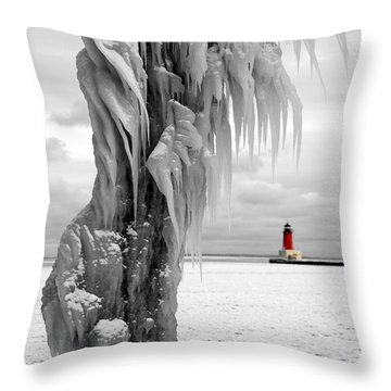 Throw Pillow featuring the photograph Beyond The Ice Reaper's Grasp -  Menominee North Pier Lighthouse by Mark J Seefeldt
