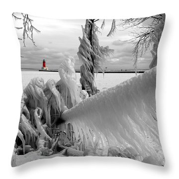 Throw Pillow featuring the photograph Beyond The Icy Gate - Menominee North Pier Lighthouse by Mark J Seefeldt