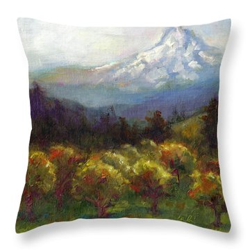 Beyond The Orchards Throw Pillow by Talya Johnson
