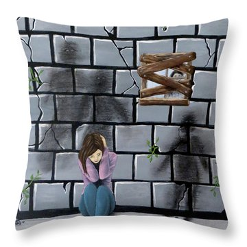 Throw Pillow featuring the painting Beyond The Wall by Teresa Wing