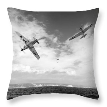 Throw Pillow featuring the photograph Bf109 Down In The Channel Bw Version by Gary Eason