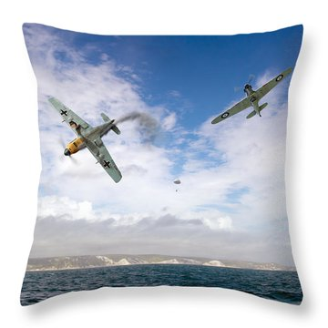 Throw Pillow featuring the photograph Bf109 Down In The Channel by Gary Eason