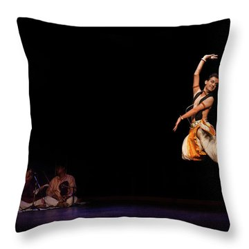 Bharatanatyam Throw Pillow by Marji Lang