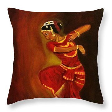 Bharatnatyam Dancer Throw Pillow