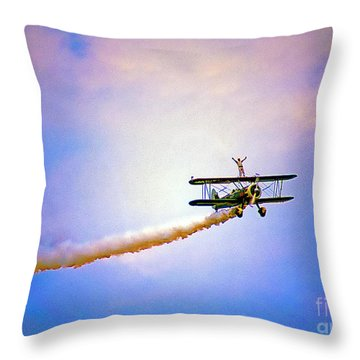Bi-plane And Wing Walker Throw Pillow