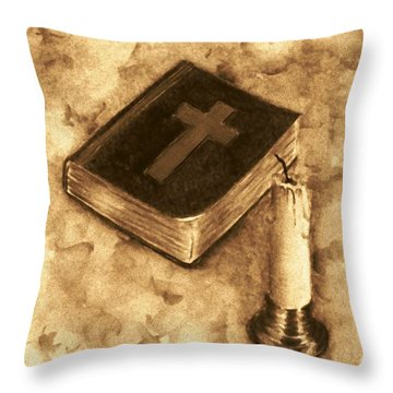 Bible And Candle Throw Pillow by Michael Vigliotti