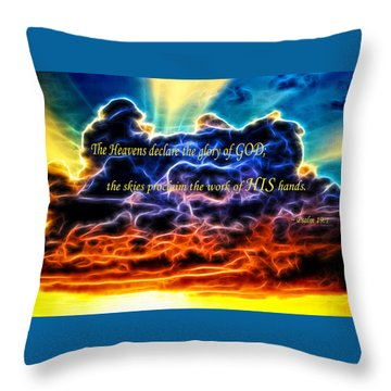 Throw Pillow featuring the photograph Biblical Electrified Cumulus Clouds Skyscape - Psalm 19 1 by Shelley Neff