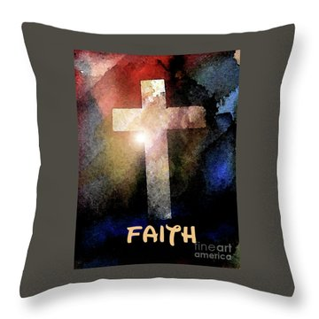 Throw Pillow featuring the painting Biblical-faith by Terry Banderas