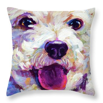 Throw Pillow featuring the painting Bichon Frise Face by Robert Phelps