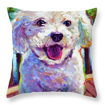 Throw Pillow featuring the painting Bichon Frise by Robert Phelps