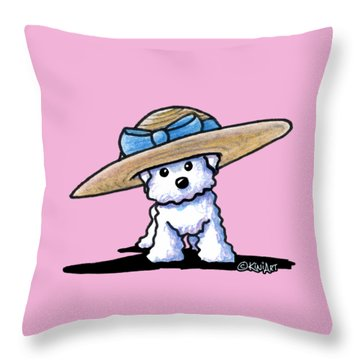 Bichon In Hat Throw Pillow