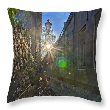 Bicycle Alley Throw Pillow