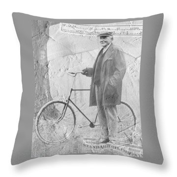 Bicycle And Jd Rockefeller Vintage Photo Art Throw Pillow