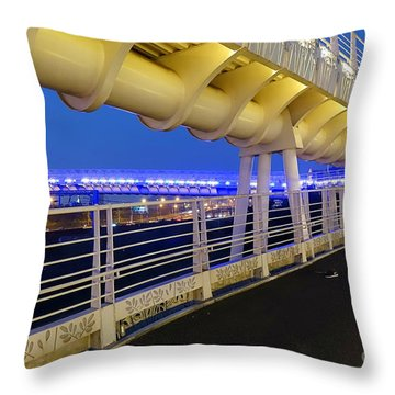 Throw Pillow featuring the photograph Bicycle And Pedestrian Overpass by Yali Shi