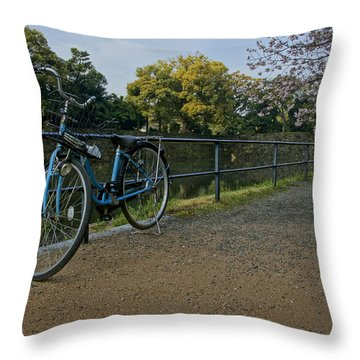 Bicycle And Tokyo Imperial Palace Throw Pillow