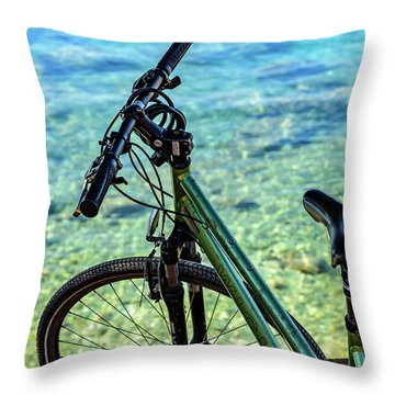 Bicycle By The Adriatic, Rovinj, Istria, Croatia Throw Pillow