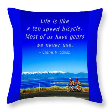 Bicycle Charles M Schulz Quote Throw Pillow