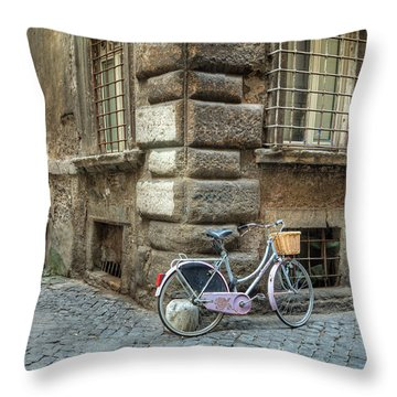 Bicycle In Rome Throw Pillow