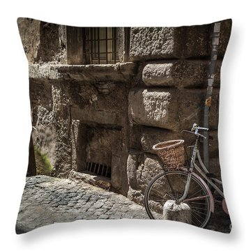 Bicycle In Rome, Italy Throw Pillow