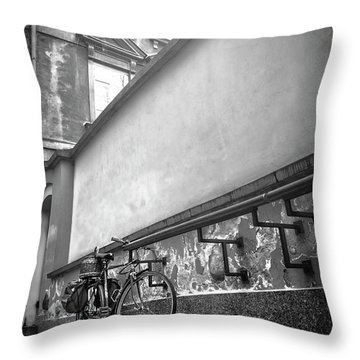 Bicycle In Warsaw Poland In Black And White  Throw Pillow