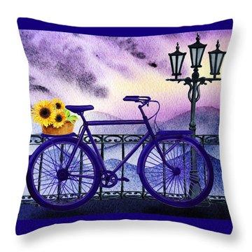 Throw Pillow featuring the painting Blue Bicycle And Sunflowers By Irina Sztukowski  by Irina Sztukowski
