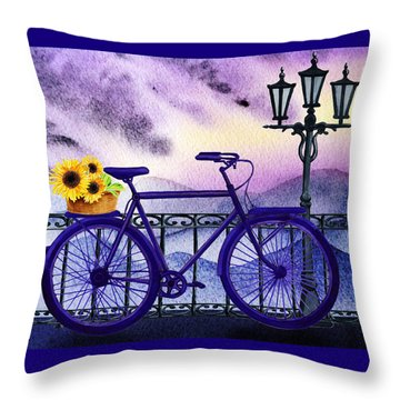 Blue Bicycle And Sunflowers By Irina Sztukowski  Throw Pillow