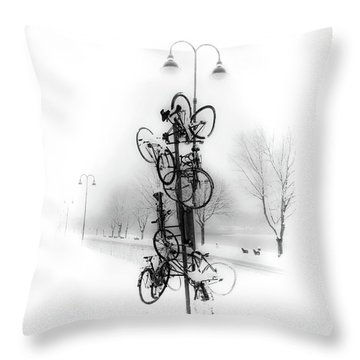 Bicycle Lamppost In Winter Throw Pillow by Menega Sabidussi