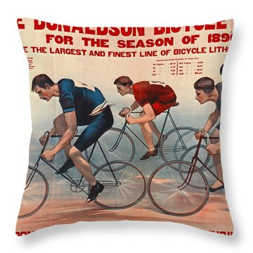 Throw Pillow featuring the photograph Bicycle Lithos Ad 1896 by Padre Art
