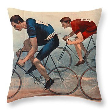 Throw Pillow featuring the photograph Bicycle Lithos Ad 1896nt by Padre Art