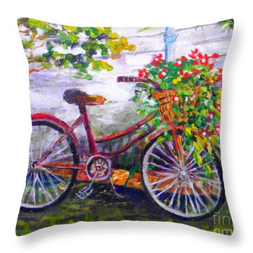 Bicycle Throw Pillow by Lou Ann Bagnall
