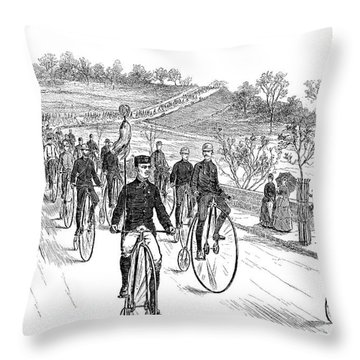 Bicycle Meet, 1883 Throw Pillow by Granger