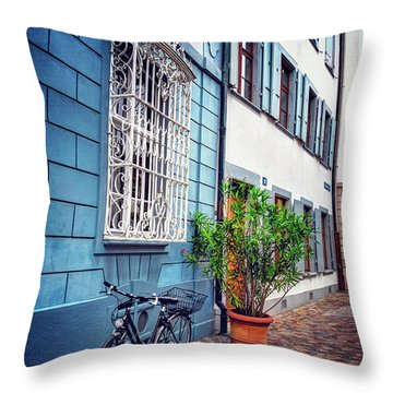 Bicycle On A Cobbled Lane In Basel Switzerland Throw Pillow