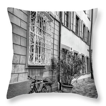 Bicycle On A Cobbled Street In Basel  Throw Pillow