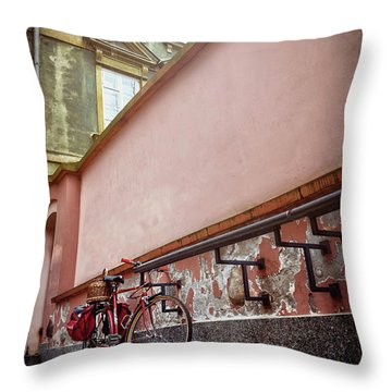 Bicycle On A Quiet Street In Warsaw Poland  Throw Pillow