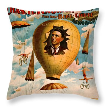Throw Pillow featuring the photograph Bicycle Parachute Act 1896 by Padre Art
