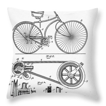 Bicycle Patent 1890 Throw Pillow by Bill Cannon