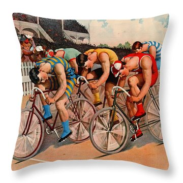 Bicycle Race 1895 Throw Pillow by Padre Art