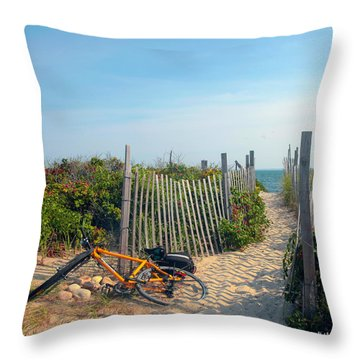 Throw Pillow featuring the photograph Bicycle Rest by Madeline Ellis