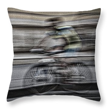 Bicycle Rider Abstract Throw Pillow