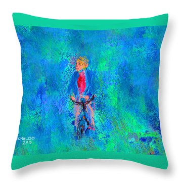 Bicycle Rider Throw Pillow