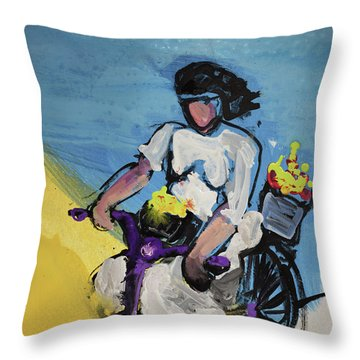 Bicycle Riding With Baskets Of Flowers Throw Pillow