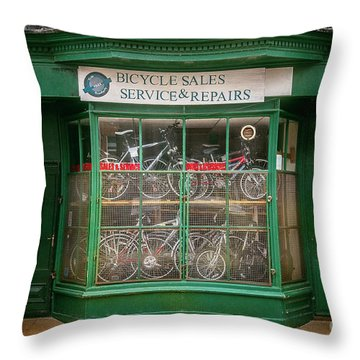 Throw Pillow featuring the photograph Bicycle Sales, Service And Repair by Craig J Satterlee