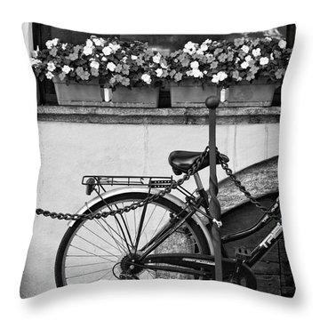 Bicycle With Flowers Throw Pillow by Silvia Ganora
