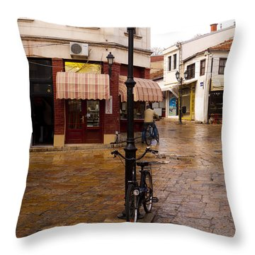 Bicycles At The Bazaar Throw Pillow by Rae Tucker