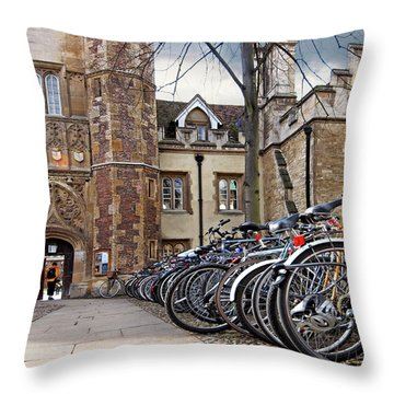 Bicycles At Trinity College Cambridge Throw Pillow by Gill Billington
