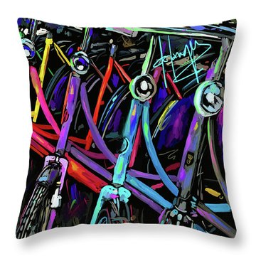 Bicycles In Amsterdam Throw Pillow
