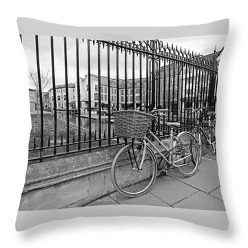 Throw Pillow featuring the photograph Bicycles On Magdalene Bridge Cambridge In Black And White by Gill Billington